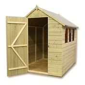 Click to view product details and reviews for 7 x 5 Pressure Treated Tongue and Groove Apex Shed with 3 Windows and Single Door.