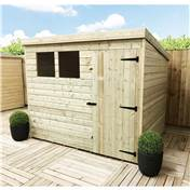 Click to view product details and reviews for 8 x 5 Pressure Treated Tongue and Groove Pent Shed with 2 Windows and Single Door.