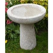 Click to view product details and reviews for Pink Hint Hammered Finish Natural Granite Round Bird Bath Medium Size.