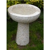 Click to view product details and reviews for Pink Hint Hammered Finish Natural Granite Round Bird Bath Small Size.