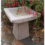 Click to view product details and reviews for Square Pink Hint Hammered Finish Natural Granite Bird Bath.