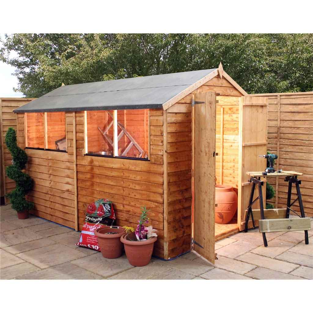10FT x 6FT SUPER SAVER OVERLAP APEX SHED WITH DOUBLE DOORS