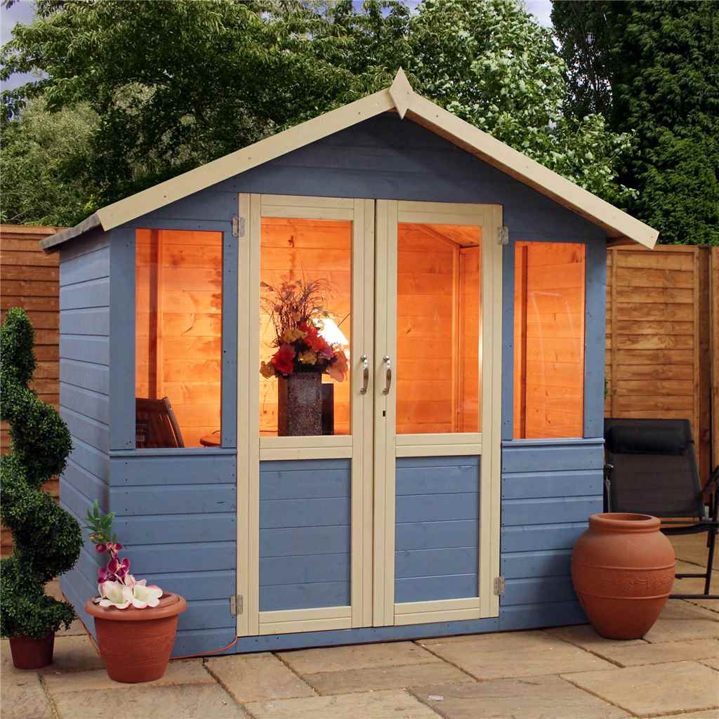 7FT x 5FT DEVON SUMMERHOUSE (1/2 Styrene Glazed Doors)