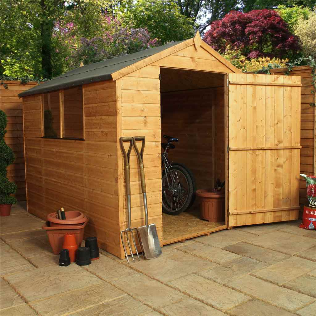 8FT x 6FT TONGUE & GROOVE APEX SHED WITH LARGE DOOR