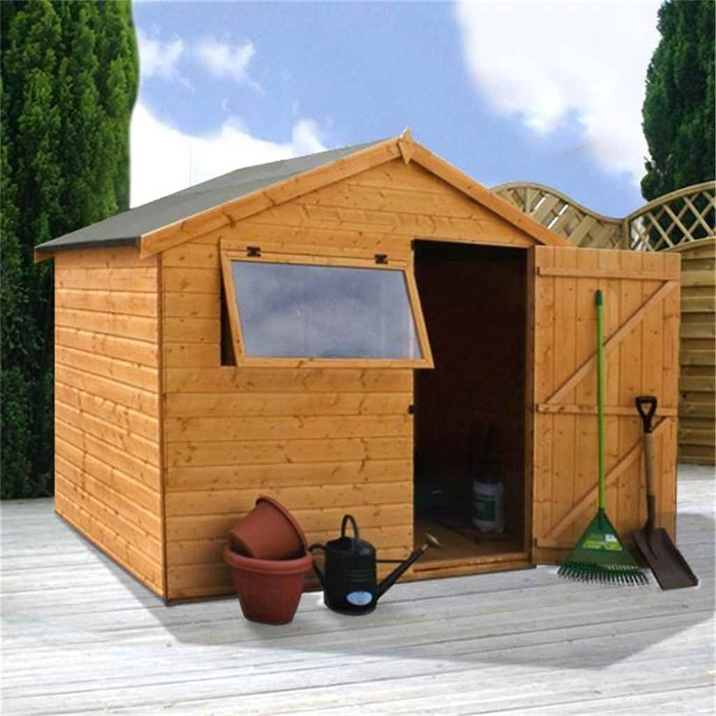 6FT x 8FT TONGUE AND GROOVE REVERSE APEX SHED (10mm Solid OSB Floor)