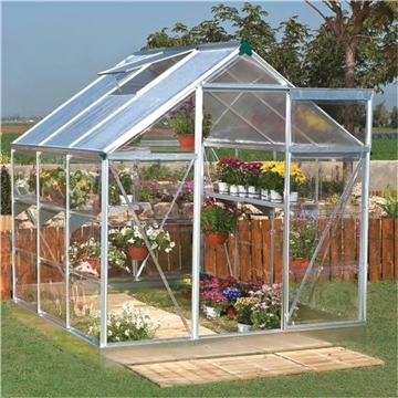 CLIFTON SILVER FRAME GREENHOUSE  6FT x 6FT