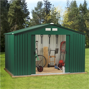 **PRE-ORDER** Due back into stock 2nd Week of May 2014*** 10ft x 8ft Premier All Green  Metal Shed (3.22m x 2.44m) + FREE 72HR DELIVERY*
