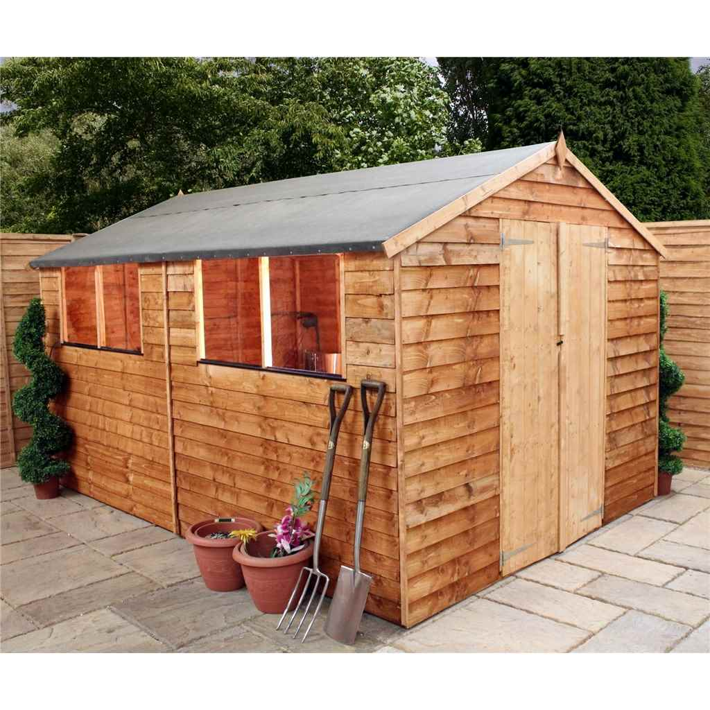 12FT x 8FT BUCKINGHAM OVERLAP APEX SHED WITH DOUBLE DOORS