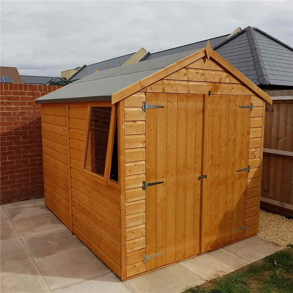 8FT x 6FT STOWE TONGUE & GROOVE GARDEN APEX SHED + DOUBLE DOORS