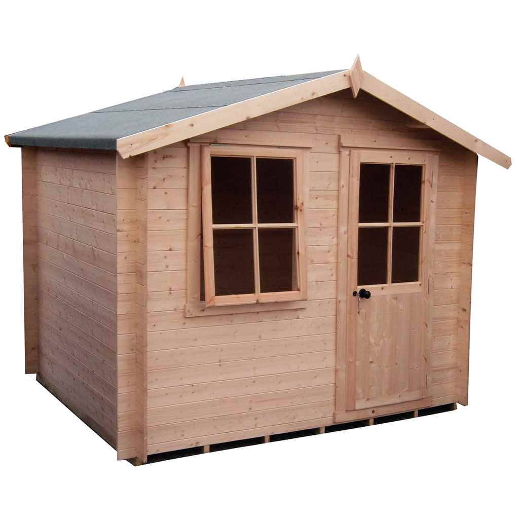7ft x 7ft Stowe Pembrook Log Cabin (2.09m x 2.09m) - 19mm Wall Thickness