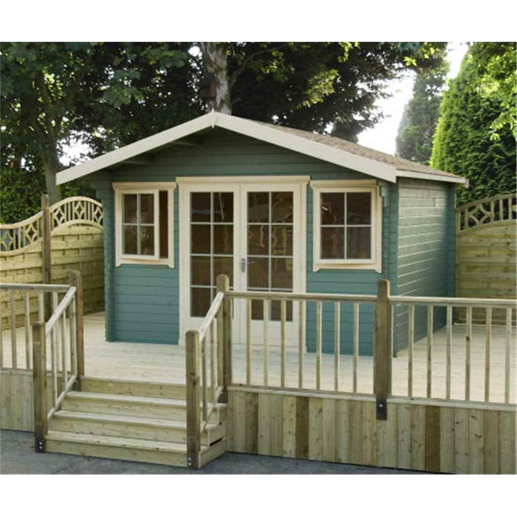 14ft x 14ft Stowe Claradon Log Cabin (4.19m x 4.19m) - 28mm Wall Thickness