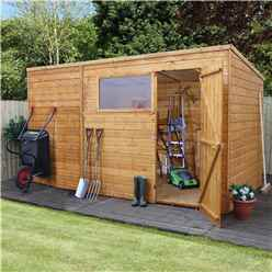 12ft x 8ft Tongue and Groove Wooden Pent Garden Shed With 1 Window And Single Door (10mm Solid OSB Floor) - 48HR + SAT Delivery*