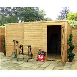 12ft x 8ft Windowless Tongue and Groove Wooden Garden Pent Shed with Single Door (10mm Solid OSB Floor) ***extended Delivery Typically 14 Working Days As Treated As Special