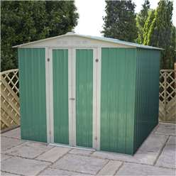 8 x 6 Value Apex Metal Garden Shed (2.42m x 1.83m)  *FREE 48HR DELIVERY + Free Anchor Kit