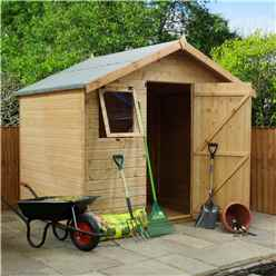 6ft x 8ft Premier Reverse Wooden Tongue and Groove Apex Garden Shed With Higher Ridge, 2 Windows And Single Door (12mm Tongue and Groove Floor and Roof) - 48HR + SAT Delivery*