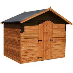 6ft x 8ft Premier Windowless Reverse Tongue and Groove Apex Shed With Higher Ridge,Single Door (12mm Tongue and Groove Floor and Roof) ***Extended Delivery Typically 14 Working Days Treated As Special