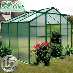 6ft x 8ft Eazi Click Green Greenhouse with Higher Ridge Height + FREE BASE
