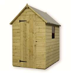 4 x 4 Pressure Treated Tongue and Groove Apex Shed with 1 Window And Single Door