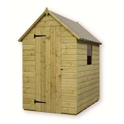 5ft x 4ft Pressure Treated Tongue and Groove Apex Shed with 1 Window And Single Door