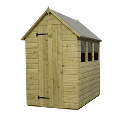 6 x 4 Pressure Treated Tongue and Groove Apex Shed with 3 Windows And Single Door