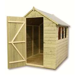 6 x 5 Pressure Treated Tongue and Groove Apex Shed With 3 Windows And Single Door