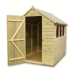 8ft x 5ft Pressure Treated Tongue and Groove Apex Shed with 4 Windows And Single Door