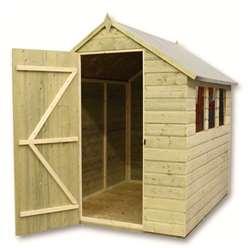 9ft x 5ft Pressure Treated Tongue and Groove Apex Shed With 4 Windows And Single Door