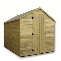 8 x 6 Windowless Pressure Treated Tongue and Groove Apex Shed with Single Door