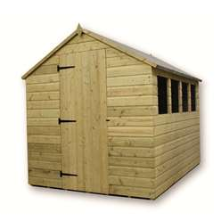6 x 6 Pressure Treated Tongue and Groove Apex Shed With 3 Windows And Single Door
