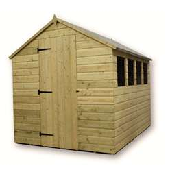9ft x 6ft Pressure Treated Tongue and Groove Apex Shed With 4 Windows And Single Door