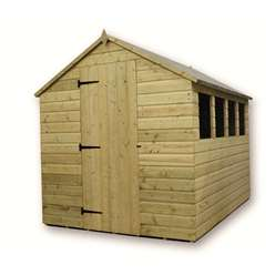 10 x 6 Pressure Treated Tongue and Groove Apex Shed With 4 Windows And Single Door