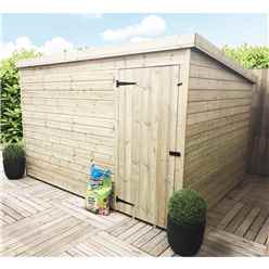 10ft x 8ft Windowless Pressure Treated Tongue and Groove Pent Shed with Single Door