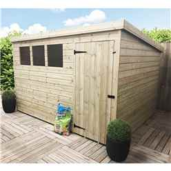 10ft x 7ft Pressure Treated Tongue and Groove Pent Shed With 3 Windows And Single Door
