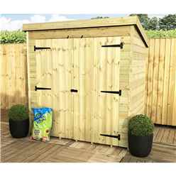 6ft x 5ft Windowless Pressure Treated Tongue and Groove Pent Shed with Double Doors