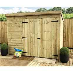 7 x 6 Windowless Pressure Treated Tongue and Groove Pent Shed with Double Doors
