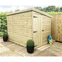 8ft x 7ft Windowless Pressure Treated Tongue and Groove Pent Shed with Side Door