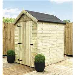 5ft x 4ft Premier Windowless Pressure Treated Tongue and Groove Apex Shed With Higher Eaves and Ridge Height And Single Door
