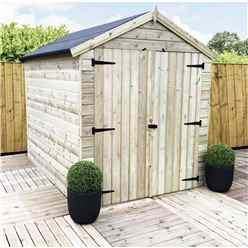 9ft x 8ft Windowless Premier Pressure Treated Tongue and Groove Apex Shed With Higher Eaves And Ridge Height And Double Doors