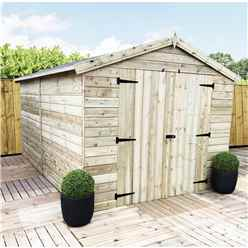 10ft x 8ft Windowless Premier Pressure Treated Tongue and Groove Apex Shed With Higher Eaves And Ridge Height And Double Doors