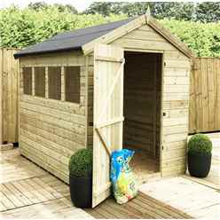 8ft x 6ft Premier Pressure Treated Tongue and Groove Apex Shed With Higher Eaves And Ridge Height 4 Windows And Single Door