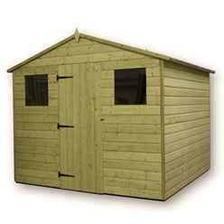 12ft x 8ft Premier Pressure Treated Tongue and Groove Apex Shed With Higher Eaves And Ridge Height 2 Windows And Single Door