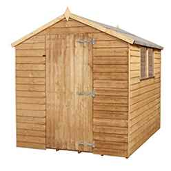 8ft x 6ft Value Wooden Overlap Apex Shed With 2 Windows And Single Door (Solid 10mm OSB Floor) - 48HR + SAT Delivery*