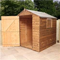 6 x 6 Value Wooden Tongue and Groove Apex Garden Shed With 1 Window And Single Door (10mm Solid OSB Floor and Roof) - 48HR + SAT Delivery*