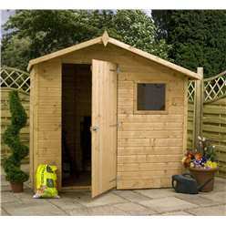 *PRE-ORDER: DUE BACK IN STOCK 19TH SEPTEMBER* 7 x 5 Tongue and Groove Offset Wooden Apex Garden Shed With 1 Window And Single Door (10mm Solid OSB Floor and Roof) - 48HR + SAT Delivery*