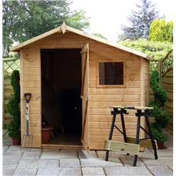 *PRE-ORDER: CURRENTLY OUT OF STOCK* 7 x 7 Tongue and Groove Offset Wooden Apex Garden Shed With 1 Window And Single Door (10mm Solid OSB Floor and Roof) - 48HR + SAT Delivery*