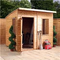 8 x 6 Tongue and Groove Curved Roof Wooden Garden Shed With 3 Windows And Single Door - 48HR + SAT Delivery*
