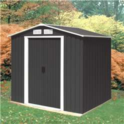 *PRE ORDER - CURRENTLY OUT OF STOCK* 6 x 8 Deluxe Anthracite Metal Shed (2.01m x 2.42m)