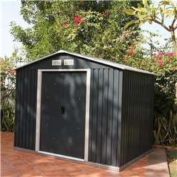 **PRE ORER - DUE BACK IN STOCK 22ND AUGUST** 8 x 6 Deluxe Anthracite Metal Shed (2.61m x 1.82m)