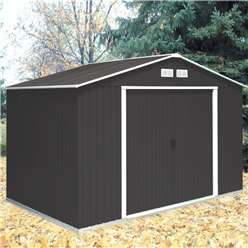 **PRE ORER - DUE BACK IN STOCK 22ND AUGUST** 10 x 8 Deluxe Anthracite Metal Shed (3.21m x 2.42m)