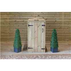 Single Redwood Pressure Treated Wheelie Bin Store - 140 Litre Bin